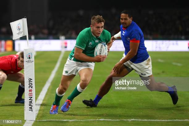 Jordan Larmour of Ireland on his way to scoring his team's fifth try during the Rugby World Cup 2019 Group A game between Ireland and Samoa at...