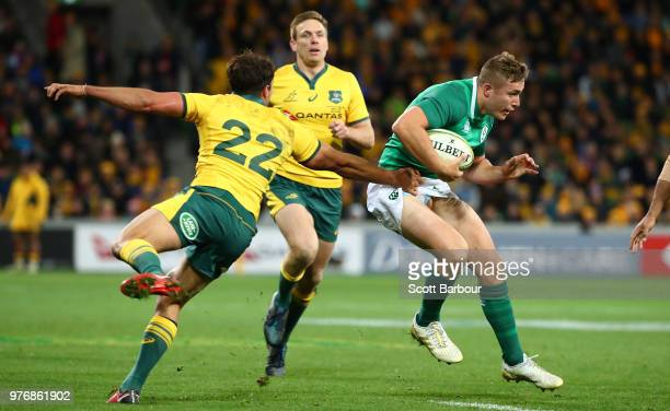 Jordan Larmour of Ireland runs with the ball during the International test match between the Australian Wallabies and Ireland at AAMI Park on June 16...