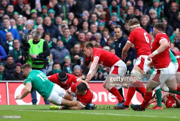 Jordan Larmour of Ireland touches down for his team's first try during the 2020 Guinness Six Nations match between Ireland and Wales at Aviva Stadium...