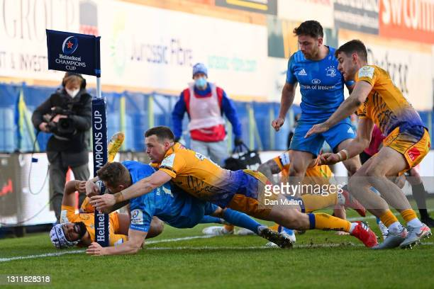 Jordan Larmour of Leinster scores their third try during the Heineken Champions Cup Quarter Final match between Exeter Chiefs and Leinster at Sandy...