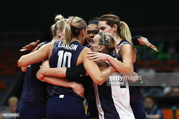 Jordan LarsonBurbach and Team USA huddle during the Women's Bronze Medal Match between Netherlands and the United States on Day 15 of the Rio 2016...