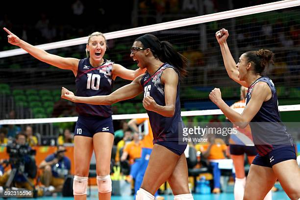 Jordan LarsonBurbach Foluke Akinradewo and Alisha Glass of United States celebrate winning match point during the Women's Bronze Medal Match between...