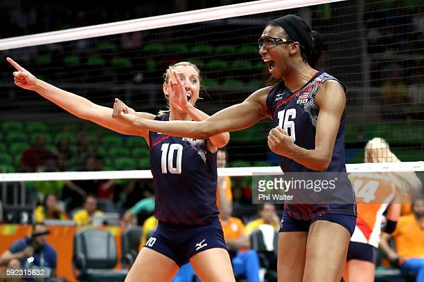 Jordan LarsonBurbach Foluke Akinradewo of United States celebrate winning match point during the Women's Bronze Medal Match between Netherlands and...