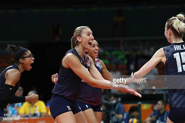 Jordan LarsonBurbach Kimberly Hill of United States celebrate winning the third set during the Women's Bronze Medal Match between Netherlands and the...