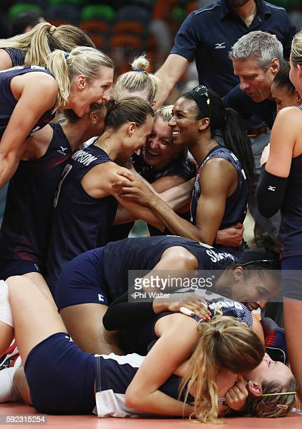 Jordan Larson-Burbach of United States and Team USA celebrate match point during the Women's Bronze Medal Match between Netherlands and the United...