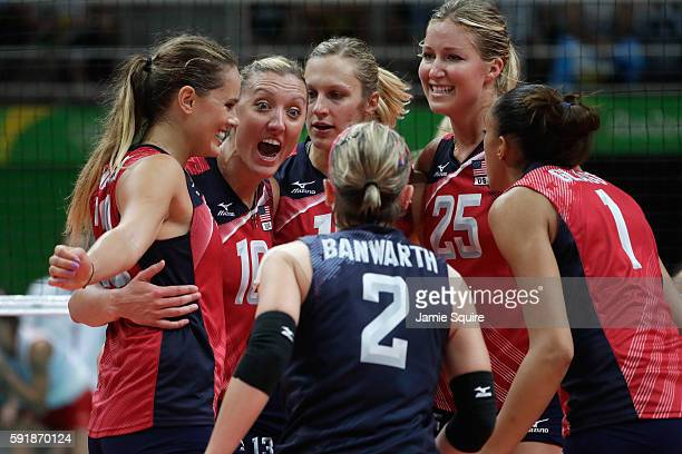 Jordan LarsonBurbach of United States celebrates with teammates while taking on Serbia in the Women's Volleyball Semifinal match at the Maracanazinho...