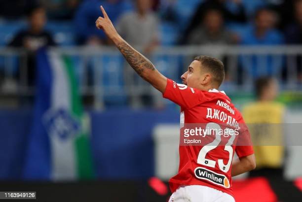 Jordan Larsson of FC Spartak Moscow celebrates a goal during the Russian Football League match between PFC FC Krylia Sovetov Samara and FC Spartak...