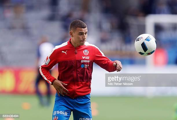 Jordan Larsson of Helsingborgs IF ahead of the Allsvenskan match between Djurgardens IF and Helsingborgs IF at Tele2 Arena on May 22 2016 in...