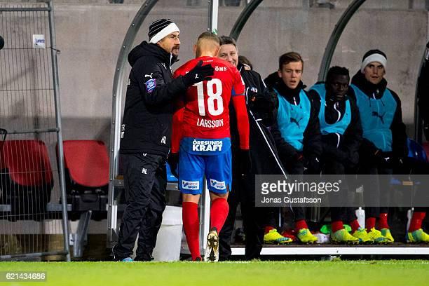 Jordan Larsson of Helsingborgs IF and Henrik Larsson head coach of Helsingborgs IF during the Allsvenskan match between Helsingborgs IF and...