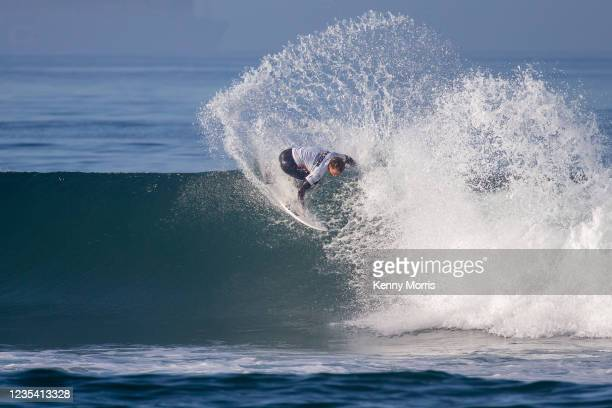 Jordan Lawler of Australia surfs in Heat 1 of the Round of 96 at the US Open of Surfing Huntington Beach presented by Shiseido on September 21, 2021...