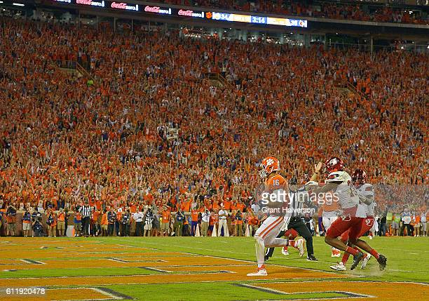 Jordan Leggett of the Clemson Tigers catches a fourth quarter goahead touchdown reception against the Louisville Cardinals at Memorial Stadium on...