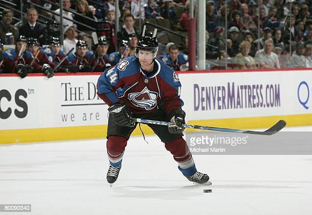 Jordan Leopold of the Colorado Avalanche skates against the Los Angeles Kings at the Pepsi Center on March 1, 2008 in Denver, Colorado. The Avalanche...