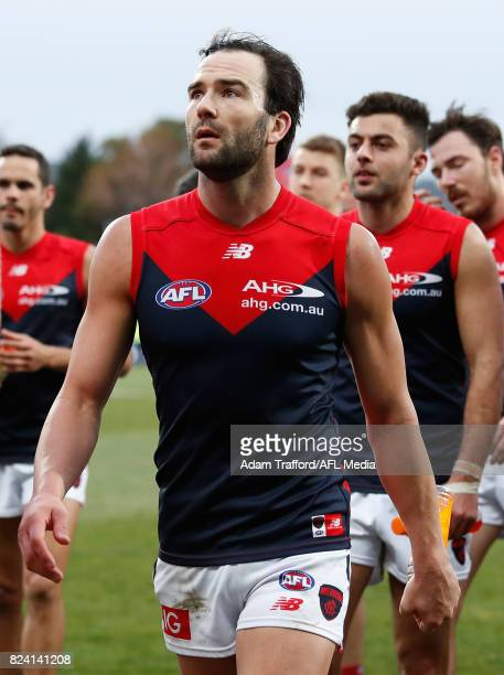 Jordan Lewis of the Demons looks dejected after a loss during the 2017 AFL round 19 match between the North Melbourne Kangaroos and the Melbourne...