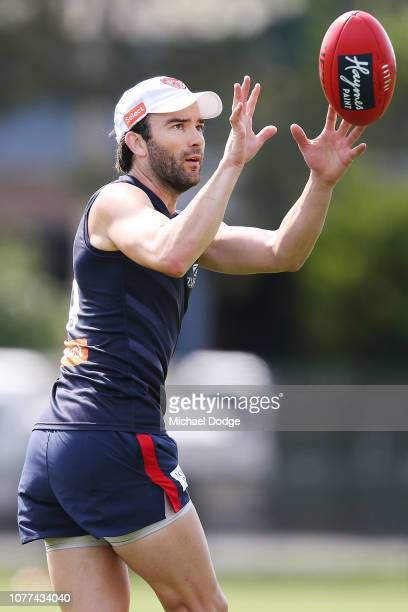 Jordan Lewis of the Demons marks the ball during a Melbourne Demons AFL training session at Gosch's Paddock on December 05 2018 in Melbourne Australia