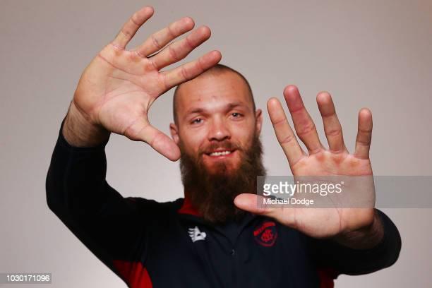 Jordan Lewis of the Demons poses during a Melbourne Demons AFL media opportunity at AAMI Park on September 10 2018 in Melbourne Australia