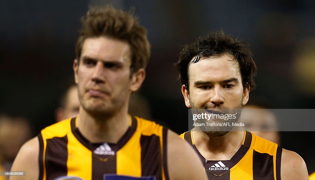 Jordan Lewis of the Hawks (right) looks dejected after a loss during the 2015 AFL round 21 match between the Hawthorn Hawks and Port Adelaide Power at Etihad Stadium, Melbourne, Australia on August 21, 2015.