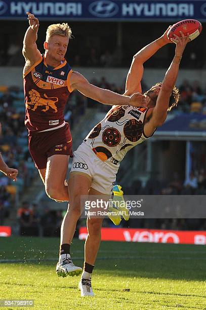 Jordan Lewis of the Hawks marks during the round 10 AFL match between the Brisbane Lions and the Hawthorn Hawks at The Gabba on May 28 2016 in...