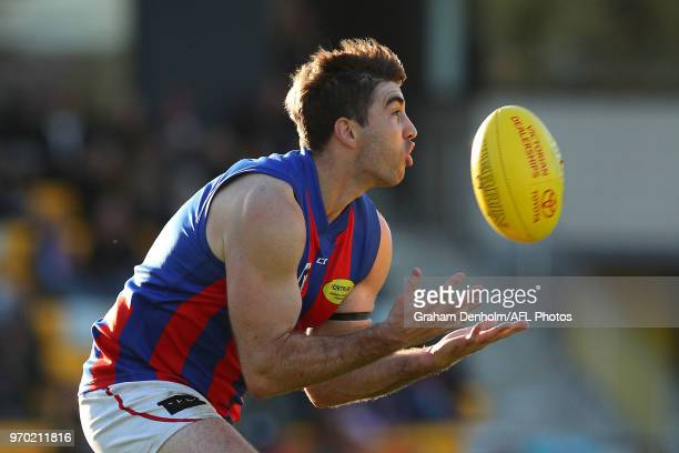 Jordan Lisle of Port Melbourne takes a mark during the round 10 VFL match between Werribee and Port Melbourne at Avalon Airport Oval on June 9, 2018...
