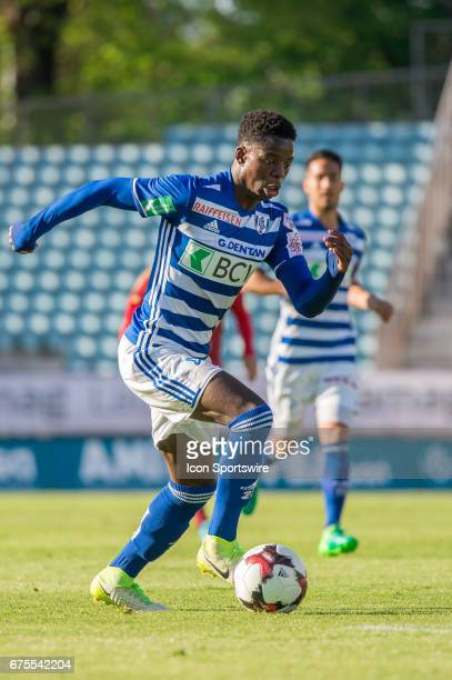 Jordan Lotomba in action during the Swiss Super League match between FC LausanneSport and FC Vaduz at Stade Olympique de la Pontaise in Lausanne on...