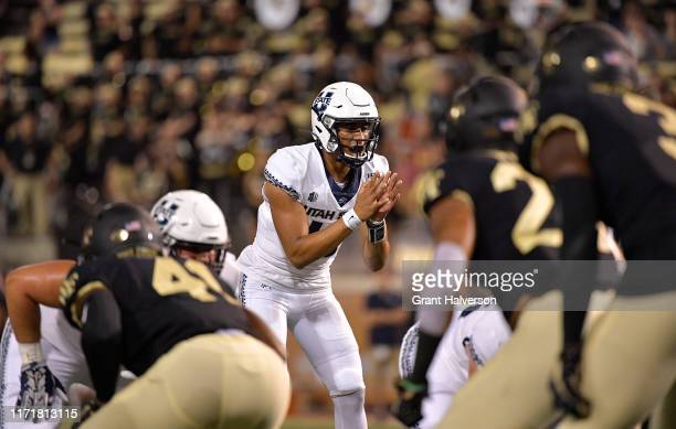 Jordan Love of the Utah State Aggies against the Wake Forest Demon Deacons during their game at BBT Field on August 30 2019 in Winston Salem North...