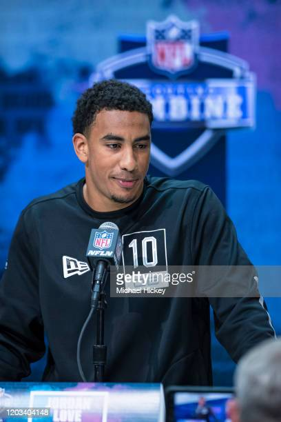 Jordan Love #QB10 of the Utah State Aggies speaks to the media at the Indiana Convention Center on February 25 2020 in Indianapolis Indiana Jordan...