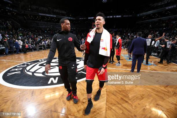 Jordan Loyd Danny Green of the Toronto Raptors talk after the game against the Brooklyn Nets on April 3 2019 at Barclays Center in New York City New...