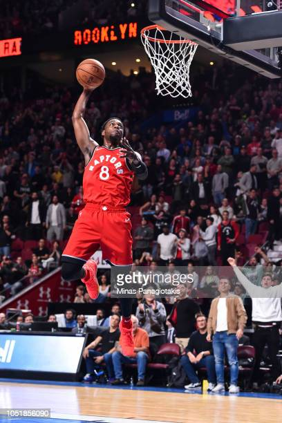 Jordan Loyd of the Toronto Raptors prepares to dunk the ball late in the fourth quarter against the Brooklyn Nets during the pre-season NBA game at...