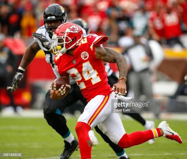 Jordan Lucas cornerback with the Kansas City Chiefs returned an fourth quarter interception 49 yards against the Jacksonville Jaguars at Arrowhead...