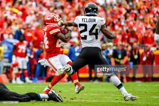 Jordan Lucas of the Kansas City Chiefs is finally brought down after an interception and long return by TJ Yeldon of the Jacksonville Jaguars during...