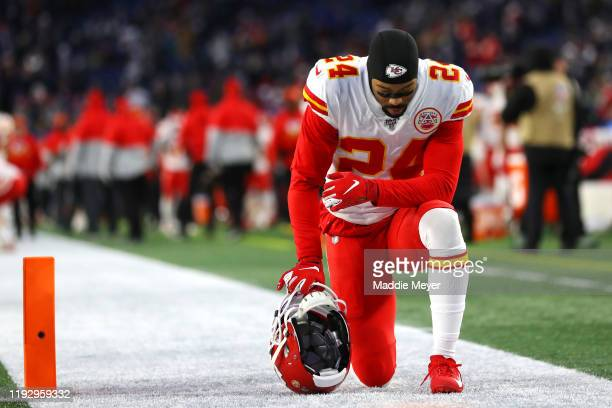 Jordan Lucas of the Kansas City Chiefs prays in the end zone before the game against the New England Patriots at Gillette Stadium on December 08 2019...