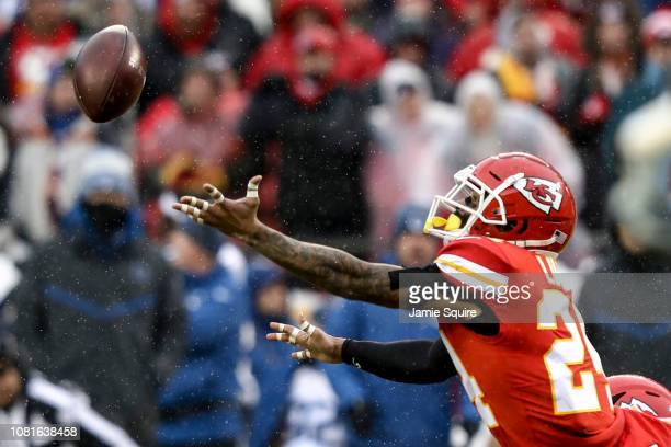 Jordan Lucas of the Kansas City Chiefs reaches out for a would be interception against the Kansas City Chiefs during the first quarter of the AFC...