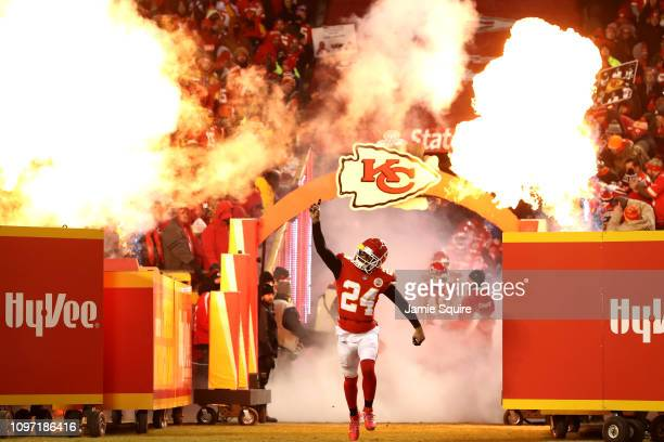 Jordan Lucas of the Kansas City Chiefs runs onto the field prior to the AFC Championship Game against the New England Patriots at Arrowhead Stadium...