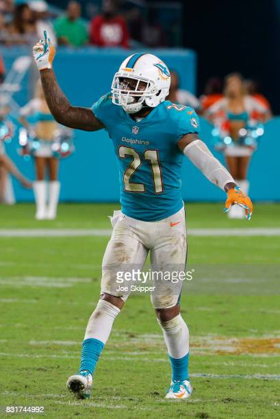 Jordan Lucas of the Miami Dolphins waits for a play against the Atlanta Falcons during a preseason game at Hard Rock Stadium on August 10 2017 in...