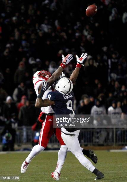 Jordan Lucas of the Penn State Nittany Lions is called for pass interference in the fourth quarter against the Nebraska Cornhuskers during the game...