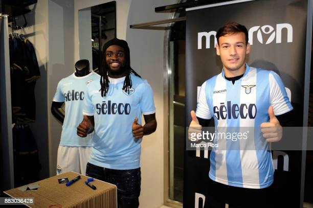 Jordan Lukaku and Alessandro Murgia of SS Lazio players visit the new Macron Store on November 30 2017 in Rome Italy