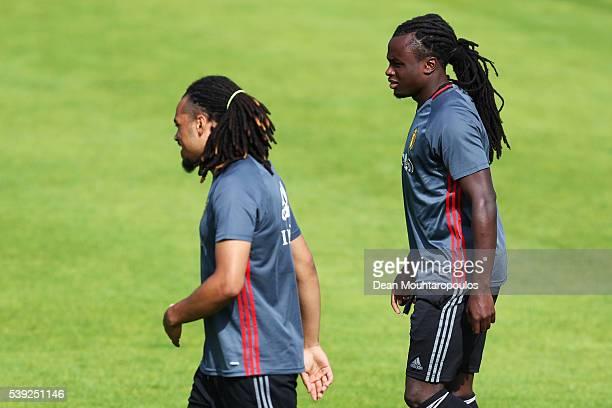 Jordan Lukaku and Jason Denayer of Belgium warm up during the Belgium Training Session held at Chateau du Haillan on June 10 2016 in Bordeaux France