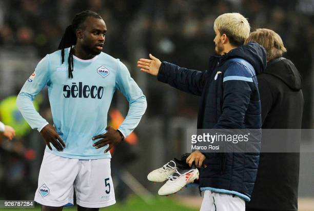 Jordan Lukaku and Luis Alberto reacts at the finish match the serie A match between SS Lazio and Juventus at Stadio Olimpico on March 3 2018 in Rome...