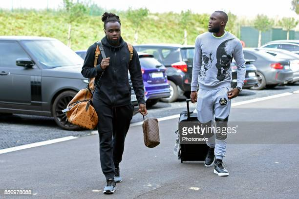 Jordan Lukaku defender of Belgium and Romelu Lukaku forward of Belgium arriving at the Martin's Red hotel prior to the World Cup 2018 qualification...