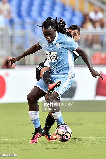 Jordan Lukaku of Lazio and Daniel Alves of Juventus fight for the ball during the Serie A match between Lazio v Juventus on August 27 2016 in Rome...