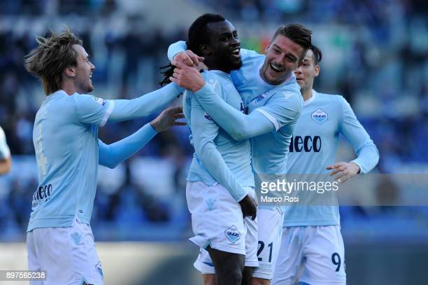 Jordan Lukaku of SS Lazio celebrates the opening goal with his team mates during the serie A match between SS Lazio and FC Crotone at Stadio Olimpico...