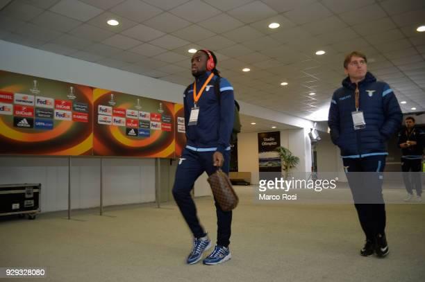 Jordan Lukaku of SS Lazio enter to the stadium before the UEFA Europa League Round of 16 match between Lazio and Dynamo Kiev at the Stadio Olimpico...