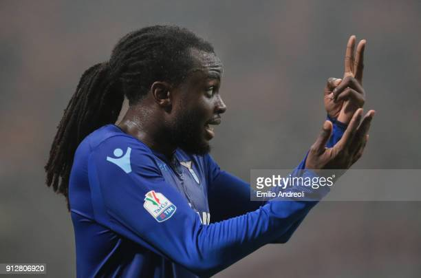 Jordan Lukaku of SS Lazio gestures during the TIM Cup match between AC Milan and SS Lazio at Stadio Giuseppe Meazza on January 31 2018 in Milan Italy