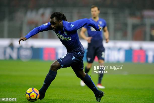 Jordan Lukaku of SS Lazio in action during the TIM Cup match between AC Milan and SS Lazio at Stadio Giuseppe Meazza on January 31 2018 in Milan Italy