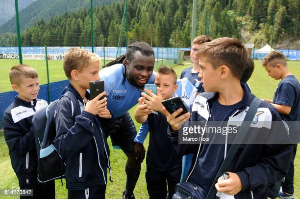 Jordan Lukaku of SS Lazio meets the boys of the summer camp Lazio after the SS Lazio PreSeason Training Camp on July 14 2017 in Pieve di Cadore Italy