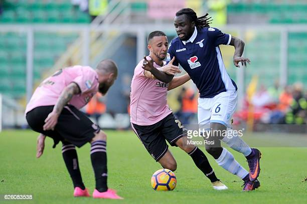 Jordan Lukaku SS Lazio competes for the ball with Bruno Enrique of US Citta di Palermo during the Serie A match between US Citta di Palermo and SS...