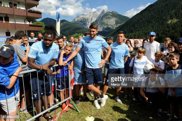Jordan Lukaku Wesley Hoedt and Chris Oikonomidis of SS Lazio during the to visit Lazio Style Village on July 15 2017 in Pieve di Cadore Italy