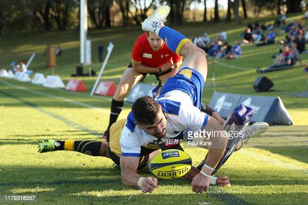 Jordan Luke of Brisbane City crosses for a try during the round six NRC match between the Western Force and Brisbane City at UWA Sports Park on...