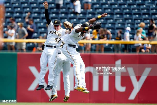 Jordan Luplow of the Pittsburgh Pirates Gregory Polanco of the Pittsburgh Pirates and Starling Marte of the Pittsburgh Pirates celebrate after...