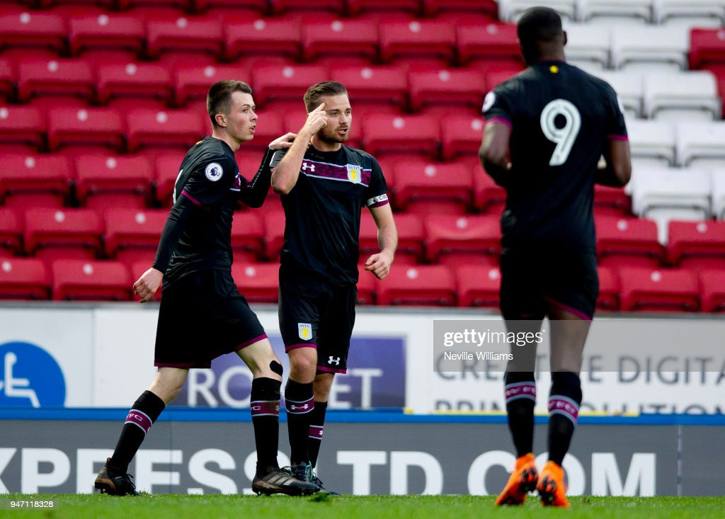Jordan Lyden of Aston Villa during the Premier League 2 match between Blackburn Rovers and Aston Villa at Ewood Park on April 16, 2018 in Blackburn, England.