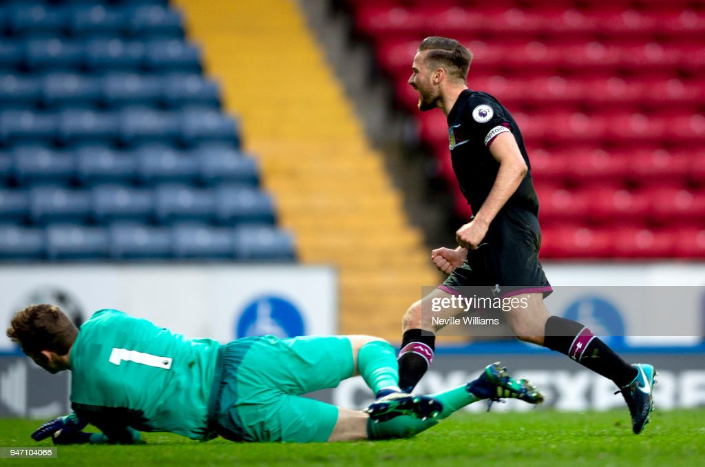 Jordan Lyden of Aston Villa scores a goal during the Premier League 2 match between Blackburn Rovers and Aston Villa at Ewood Park on April 16, 2018 in Blackburn, England.
